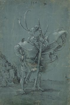 Saint Christopher, 1510 Pen And Black Ink With White Pencil On Green Blue Paper Photograph Albrecht Altdorfer