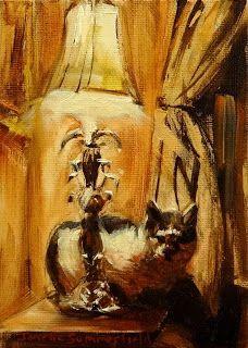 Jonelle Summerfield Oil Paintings: Cat & Lamp