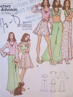 Vintage Butterick 6974 Sewing Pattern, Betsey Johnson, Betsy Johnson, 1970s Sewing Pattern, Skirt Pattern, Wide Legged Pant Pattern, Bust 34...