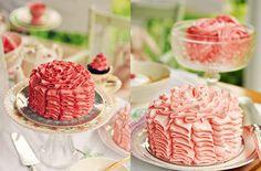 Pink Ruffle Wedding Cake
