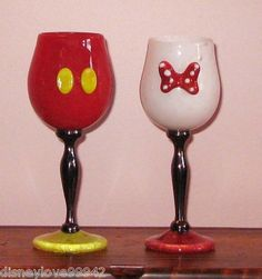 Disney Arribas Mickey Minnie SET 2 Wine Goblets Chalice Water Glasses Wedding