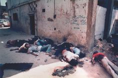 1982 The war in Lebanon: The aftermath of the massacre of Palestinians by Christian Phalangists in the Sabra and Shatila refugee camps.