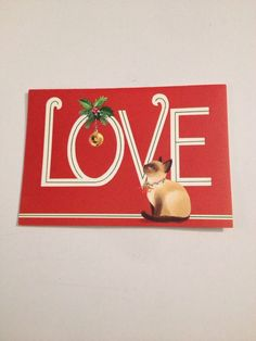 Vintage Greeting Card Christmas Love Siamese Cat Kitten Bell | eBay