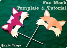 Kids Craft: Paper Fox Mask. P&P: masks do not just have to be worn using string, but can also be held up on sticks. This option could be recommended to the user.