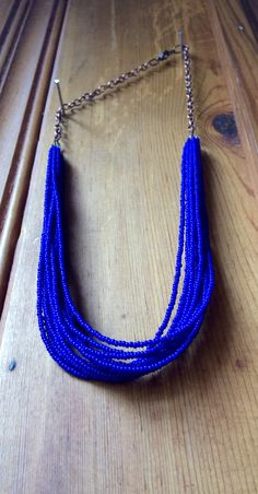 Lapis Lazuli Gemstone Seed Bead Necklace, Rose Gold Blue Statement Necklace, long Strand Necklace, Jewelry by RJ, Trending Items, Gift Ideas