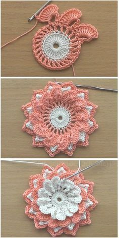 crochet flowers tutorial and video There are lots of various flower patterns, but this one you love for its elegant appearance. I would see it as a simple but joyful decoration for a fancy diner. You can use it as an accent in any othe Crocheted pink pans Crochet Puff Flower, Crochet Flower Tutorial, Crochet Flower Patterns, Crochet Designs, Knitting Patterns, Crochet Ideas, Crochet Motifs, Crochet Stitches, Free Crochet