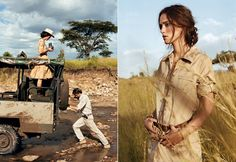 "Off-Roading  Left: William Cowell, a Cottar\'s guide, frees the Jeep from mud  left by a recent rainstorm. YSL cotton-poplin dress. Roberto Cavalli  hat.    African Queen  Right: Camouflaged by a sand-colored shirtdress among the African  grasses, Knightley spots a pride of seven lions. ""We watched them as the  sun disappeared,\"" she writes. 3.1 Phillip Lim dress. Banana Republic  belt."