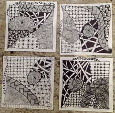 Tangled tiles in Girls Night Out Class #zentangle #tangling