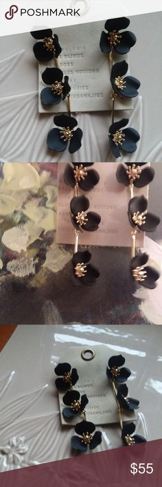 Anthropologie Dogwood Drop Earrings (NWOT) Always chic matte black!  Derived from the word Zen, Zenzii signifies happiness and balance. Known for bold bright statement pieces and vibrant color, the Atlanta-based brand celebrates the idea of using fashion to express one's own individual and unique style. Ranging from contemporary to timeless, each collection combines technological advances in jewelry manufacturing with traditional handmade craftsmanship.  Gold plating, enamel, imported…