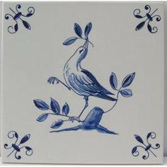 Delfs blauw tegeltje met vogel