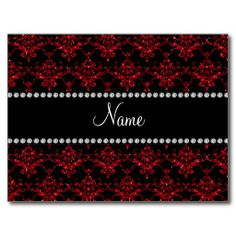 Personalized name red glitter damask postcards
