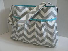 The Monterey Diaper Bag Medium - In Grey Chevron And Aqua   Love this bag