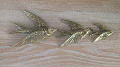 Lovely Vintage Set of 3 Brass Flying Swallow Bird Wall Hangings    eBay