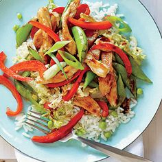 Chicken and Vegetable Stir-Fry. Vary the veggies to your family's tastes—sliced carrots or snow peas would be good substitutions.