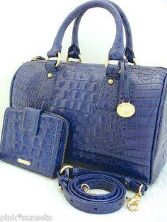 Brahmin Sadie Satchel Bag in Lapis Blue
