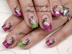 Bilder nageldesign frühling - Edeline Ca. Nail Design Spring, Spring Nail Art, Spring Nails, Summer Nails, French Manicure Nail Designs, Cool Nail Designs, Nail Manicure, Fancy Nails, Cute Nails