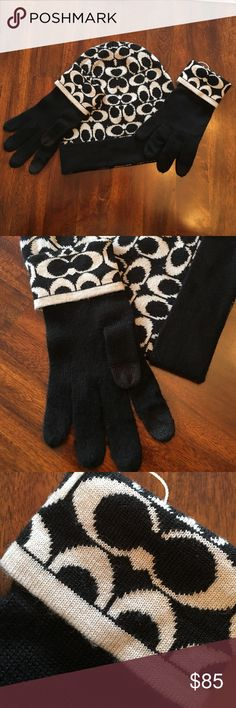 Authentic Woman's coach hat and glove set New glove and hat set. Tag is still on but cut off  so you can't see the whole tag. Black and white. Gloves have the ability to use sell phone without taking glove off. Coach Accessories Hats