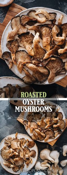 These roasted oyster mushrooms are meaty juicy and crispy on the edges. They have a mild umami flavor thats versatile enough to accompany any savory dish. And they are super simple to make. {Includes oven and air fryer methods} Oyster Mushroom Recipe, Mushroom Recipes, Wild Mushrooms, Thyme Recipes, Best Vegan Recipes, Whole Food Recipes, Mushroom Side Dishes, Mushroom Dish, Gastronomia
