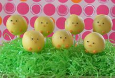 Little Chick Brownie Pops. So cute stuck in styrofoam and covered in grass.