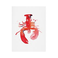 """Our lobster art print is a charming homage to traditional nautical décor, but keeps its modern independance with a visually interesting """"ink blot"""" look in vibrant watercolors. It's sort of tie-dye, sor...  Find the Lobster Art Print, as seen in the New England Chic Collection at http://dotandbo.com/collections/new-england-chic?utm_source=pinterest&utm_medium=organic&db_sku=105653"""