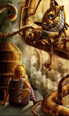 Alice in Wonderland:  Steampunk Alice and the Cheshire Cat.