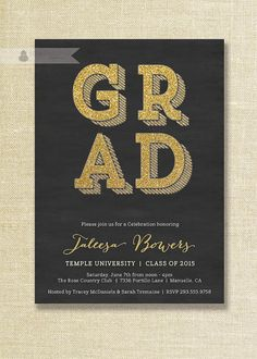 Class of 2015 Graduation Party Invitation for by SweetHammerPress | Graduation Invitations | Pinterest | Party invitations, Grad parties and Etsy