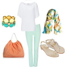I would pair it with the blue or yellow pants - the colours in the scarf & bracelet...Untitled #210, created by achristie on Polyvore