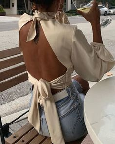 Gemma Knot Blouse – intonowstyle perfect date blouse - summer outfits - summer top - backless top Teen Fashion, Fashion Models, Fashion Clothes, Fashion Dresses, Womens Fashion, Fashion Tips, Fashion Trends, Fashion Hacks, Classy Fashion