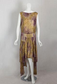 Metallic brocaded lamé evening dress, circa 1929.