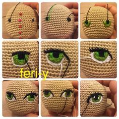 HodgePodge Crochet Presents How To Crochet Eyes For Your Amigurumi! Ever wonder how to create crochet eyes for your amigurumi projects? Crochet Amigurumi, Crochet Doll Pattern, Amigurumi Patterns, Amigurumi Doll, Doll Patterns, Crochet Patterns, Amigurumi Tutorial, Knitting Patterns, Crochet Eyes