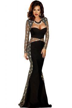 13.57 Sexy Lace Mesh Cutout Long Sleeve Maxi Party Dress Elegant Dresses  For Women 9c6c0713a71f