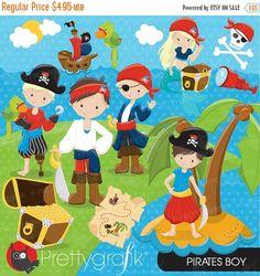 80% OFF SALE Pirate Boy clipart commercial von Prettygrafikdesign