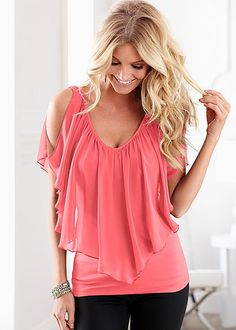 Coral Cold shoulder flutter top from VENUS. Available in sizes XS-XL!