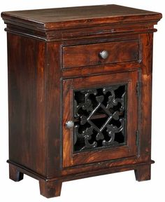 Solid Sheesham Wood Night Stand with iron  by HeirloomFurnishings, $350.00