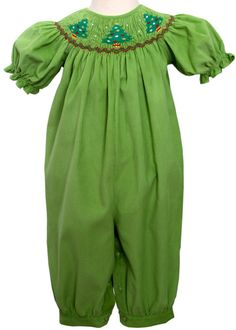 Jolly Holiday Baby Girls Long Bubble with Smocked Christmas Trees--Carousel Wear - 1