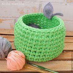 Купить Интерьерная корзина Зеленое яблоко - зеленый, интерьер, корзинка, корзина, хранение, хранение мелочей