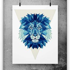 Lion Poster Geometric Art Blue wall decor Minimalist by PFposters