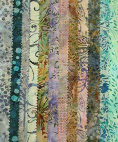 Blue Green Ocean Variety Batik  12 Fat Quarter by TheKittyQuilter, $21.00