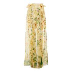 Alberta Ferretti Floral Ribbon Tie Skirt ($1,065) ❤ liked on Polyvore featuring skirts, neutral, floor length skirt, beige skirt, flower print skirt, silk skirts and alberta ferretti skirt