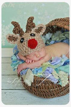 Baby Reindeer hat beanie great photo prop or by AllBabyBoutique, $24.00