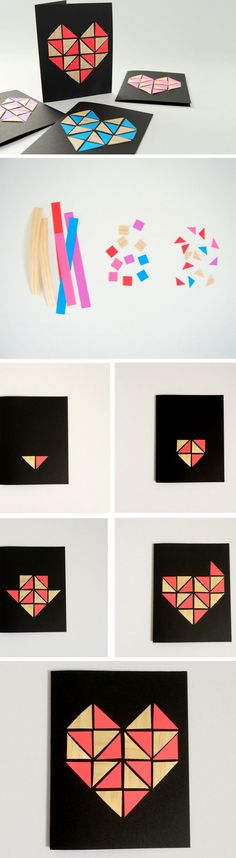 Geometric Hearts | DIY Valentines Cards for Him | DIY Fathers Day Cards from Daughter