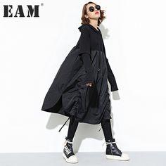 [EAM] 2017 new autumn winter hooded long sleeve solid color black split joint loose dress women fashion tide JD07601