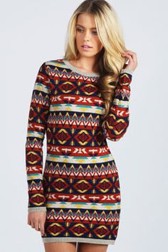 Aztec Design Knitted Bodycon Dress- lot of design for a dress, but would be a super cute scarf!!!!