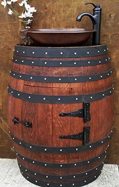 DON MOI Rustic Half Wine Barrel Bathroom Sink Vanity. Optional Hammered Copper Sink & Faucet not included - Our stunning French oak barrel dressing table is a fine piece of art. Barrel is shown in red mahoga - Bathroom Sink Vanity, Sink Faucets, Barrel Sink Bathroom, Vanity Cabinet, Hallway Cabinet, Hallway Console, Cabinet Hardware, Wine Barrel Furniture, Rustic Furniture