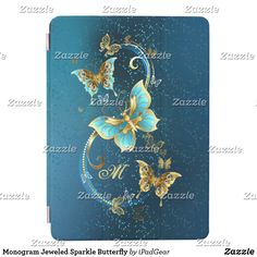 Shop Monogram Jeweled Sparkle Butterfly iPad Air Cover created by iPadGear. Ipad 1, Ipad Case, Gold Sparkle, Monogram Initials, Apple Ipad, Blue Backgrounds, Aqua Blue, Butterfly, Ipad Covers