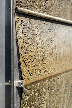 Facade material doubles as an outdoor curtain on Trollbeads House, Copenhagen, 2013 Metal Facade, Metal Cladding, Metal Screen, Metal Panels, Commercial Architecture, Facade Architecture, Casa Patio, Perforated Metal, Building Facade