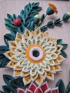 Four Layered Quilled Flowers/Bud with a pretty little ladybug - by: a Russian quiller
