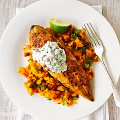 Indian-spiced mackerel with carrot mash
