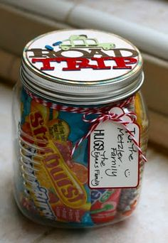 Road Trip Goodie Jar as a gift, or combine it with the clothespin for good behavior idea and don't have to spend so much at each gas station.