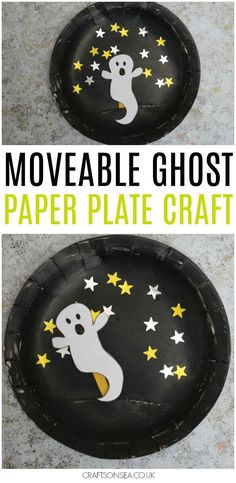 This movable paper plate ghost craft makes a fantastic Halloween kids craft and Halloween ghost craft. Perfect as a Halloween puppet kids can make. halloween activities for the classroom, halloween activities elementary, family halloween activities Halloween Arts And Crafts, Fairy Halloween Costumes, Halloween Party Games, Halloween Party Supplies, Halloween Activities, Easy Halloween, Halloween Themes, Toddler Halloween Crafts, Halloween Crafts Kindergarten
